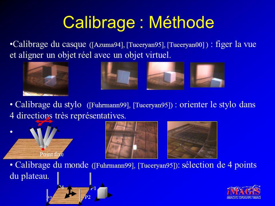 Calibrage : Méthode Calibrage du casque ([Azuma94], [Tuceryan95], [Tuceryan00] ) : figer la vue et aligner un objet réel avec un objet virtuel.